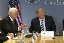 Pence mirrors Trump clearing his water bottle from meeting table