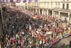 Massive protests in London as Trump meets with The Queen, PM