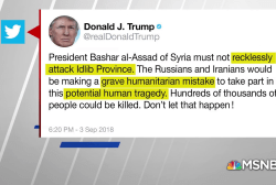 Trump warns Assad against attack on rebel base