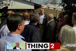 Trump's awkward post-hurricane visit to the Carolinas