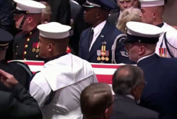 Memorial service honors McCain while rebuking Trump