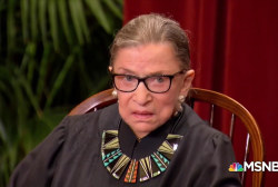 Justice Ruth Bader Ginsburg at home after working through surgery