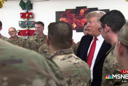 Trump turns troop meeting into political event