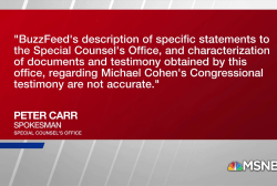 Special Counsel disputing details in BuzzFeed News report