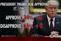 The president's job approval drops eight points in new poll