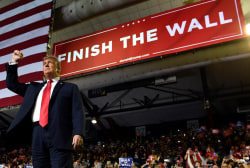 Trump debuts 'Finish the Wall' slogan despite no new wall construction