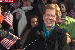 Warren's announcement:  'Fight' kept coming up in her speech