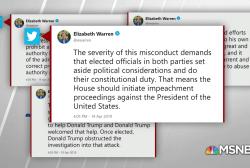 Elizabeth Warren calls on House to begin impeachment proceedings against Trump