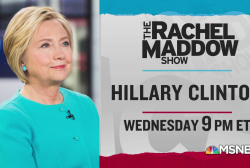 Hillary Clinton visits the Rachel Maddow Show Wednesday 5/1, 9pm