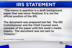 IRS distances itself from draft memo
