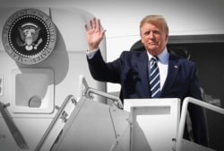 Trump leaves London and heads for Normandy... while still waging war with Mexico