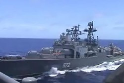 WATCH: Russian destroyer comes within 50 to 100 feet of U.S. warship