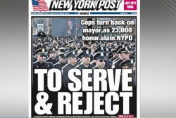 Cops turn back on NYC mayor at funeral