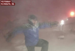 Jim Cantore celebrates snow lightning strikes