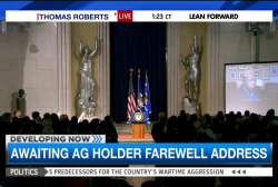 Eric Holder delivers farewell address