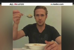 Ryan Gosling eats his cereal, pays homage