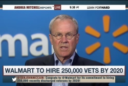 Walmart to hire 250,000 vets over five years