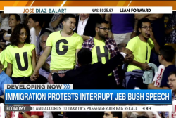 Bush interrupted by protesters at 2016 launch