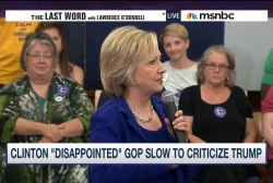 Clinton hits GOP for tepid pushback on Trump