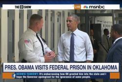 Obama visits prison to push reform