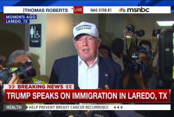 Trump arrives wearing baseball cap in Laredo