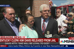 Kim Davis appears before cameras after...