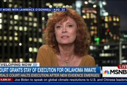 Susan Sarandon stands with Oklahoma inmate