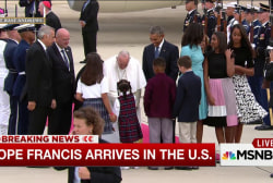 Pope Francis and President Obama greet...
