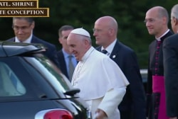 Pope Francis departs National Basilica