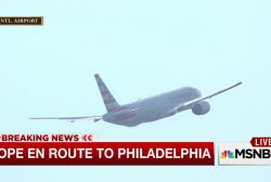 Pope Francis takes off for Philadelphia