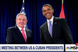 Rare meeting between Cuban and US presidents