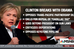 Clinton breaks with Obama on trade deal