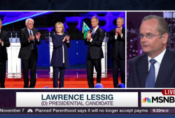 Lessig absent from debate, takes questions