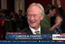 Chafee seeks distinction on debate stage