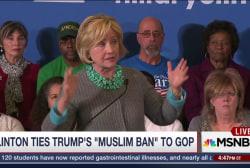 Clinton Ties GOP Field to Trump