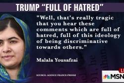 Malala Yousafzai takes on Donald Trump