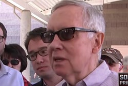 Harry Reid visits NV caucus site