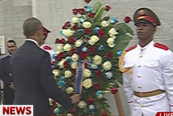 Pres. Obama lays wreath at Cuban memorial