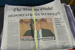 Mock front page shows US under 'President'...
