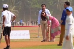 Kate Middleton tries her hand at cricket