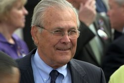 Rumsfeld, Romney take aim at Obama