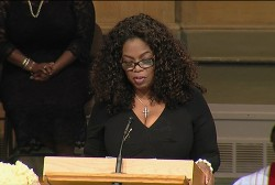 Oprah Winfrey speaks at Maya Angelou service