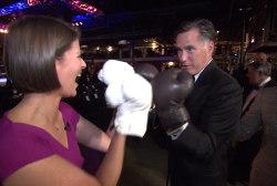 Mitt Romney boxes msnbc's Kasie Hunt