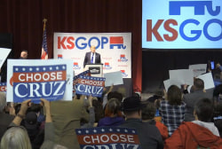 Trump heckled by Cruz supporters in KS