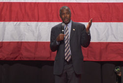 Ben Carson discusses Kim Davis at CA rally