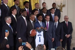 Obama welcomes NCAA champs Duke to WH