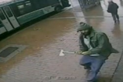 Video of man wielding hatchet before attack