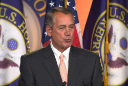 Boehner offers up air-kisses to reporters