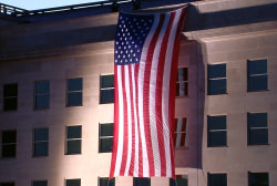 Flag draped from roof of Pentagon