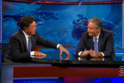 Colbert gives Stewart a touching farewell